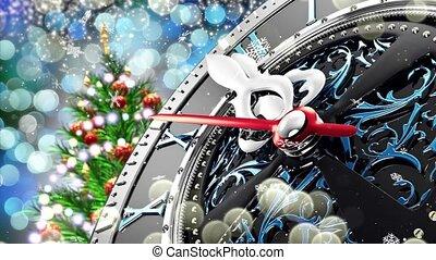 nuovo anno, a, mezzanotte, -, vecchio, orologio, con,...