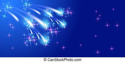 nuovo anno, fireworks, con, ardendo, stelle