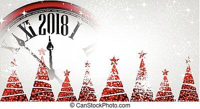nuovo, bandiera, 2018, clock., anno
