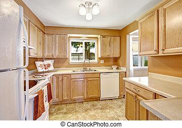 nuovo, bianco, gabinetto, apparecchi, cucina