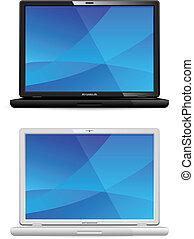 nuovo, bianco, nero, laptop