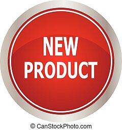 nuovo, bottone, prodotto, rosso, rotondo