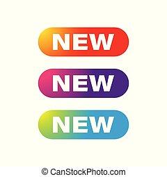 nuovo, bottone, set, web