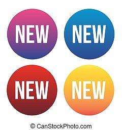 nuovo, bottone, vettore, set, web