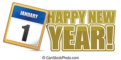 nuovo, calendario, segno, felice, anno
