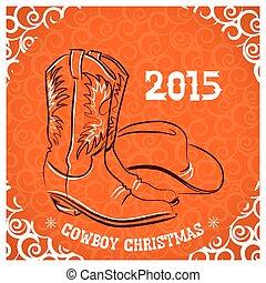 nuovo, cappello, stivali cowboy, occidentale, anno