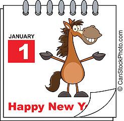 nuovo, cavallo, felice, anno civile