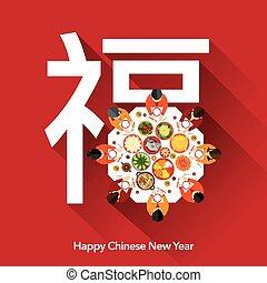 nuovo, cena, anno, cinese, riunione