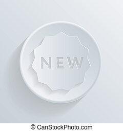 nuovo, cerchio, icona, shadow., etichetta