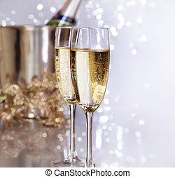 nuovo, champagne., anno, celebrazione