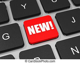 nuovo, chiave, su, tastiera, di, laptop, computer.