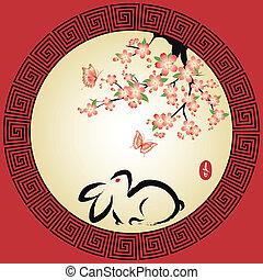 nuovo, cinese, cartolina auguri, anno