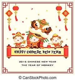 nuovo, cinese, scimmia, scheda, anno