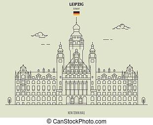 nuovo, città, germany., punto di riferimento, leipzig, salone, icona