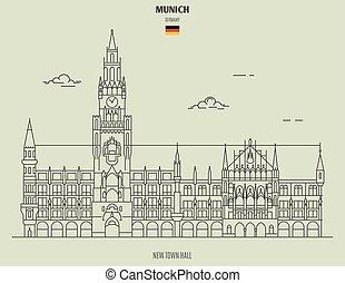 nuovo, città, germany., punto di riferimento, monaco, salone, icona