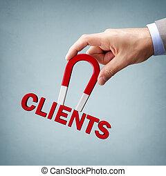 nuovo, clienti, clienti, attirando