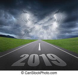 nuovo, concetto, 2019, anno