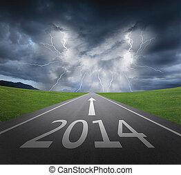 nuovo, concetto, anno, 2014, pericolo