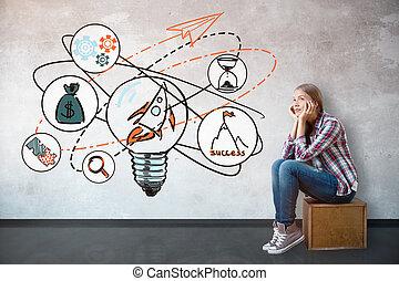 nuovo, concetto, idee, affari