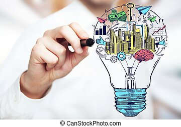 nuovo, concetto, idee, brainstoring