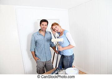 nuovo, coppia, appartamento, pittura