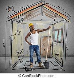 nuovo, costruzione, lavorativo, muratore