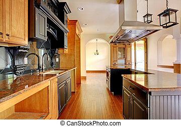 nuovo, costruzione, sede lusso, interior., cucina, con, bello, details.