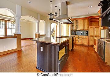 nuovo, costruzione, sede lusso, interior.kitchen, con, bello, details.