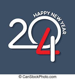 nuovo, creativo, disegno, anno, 2014, felice