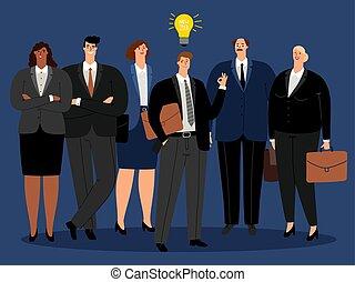 nuovo, creativo, idea, squadra affari