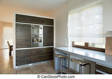 nuovo, dentro, mobilia moderna, cucina