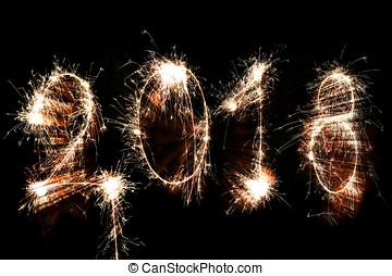 nuovo, felice, concetto, 2018, anno