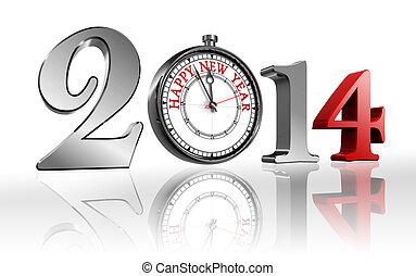 nuovo, felice, orologio, 2014, anno