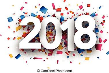 nuovo, festivo, anno, 2018, fondo.