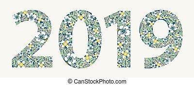 nuovo, fiori, 2019, colorito, anno