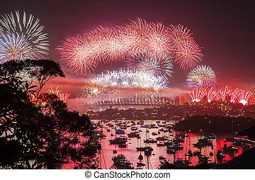 nuovo, firework, vigilia, anno