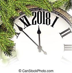 nuovo, fondo, 2018, clock., anno