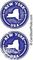 nuovo, francobolli, york, stati uniti