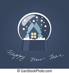 nuovo, globo, neve, scheda, anno