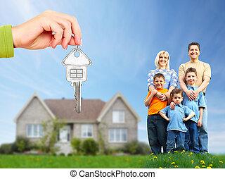 nuovo, house., famiglia, felice