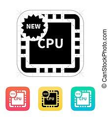 nuovo, icon., vettore, cpu, illustration.