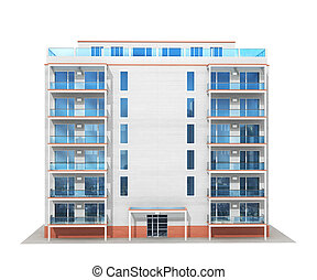 nuovo, illustrazione, moderno, residenziale, multistory, ...