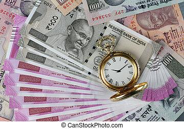 nuovo, indiano, rupees, valuta, con, anticaglia, tempo, orologio