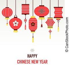 nuovo, lanterne, fondo, cinese, anno