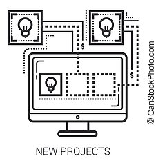 nuovo, linea, progetti, icons.