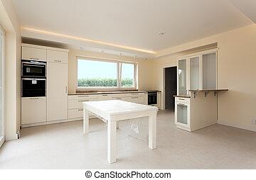 nuovo, luminoso, cucina, mobilia
