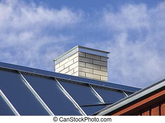 nuovo, metallo, tetto, con, bianco, camino