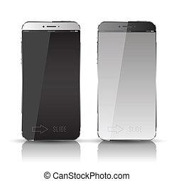 nuovo, mobile, realistico, telefono.