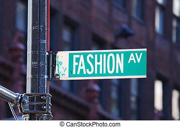 nuovo, moda, viale, york, città