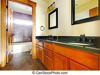 nuovo, moderno, bello, bagno, in, sede lusso, interior.